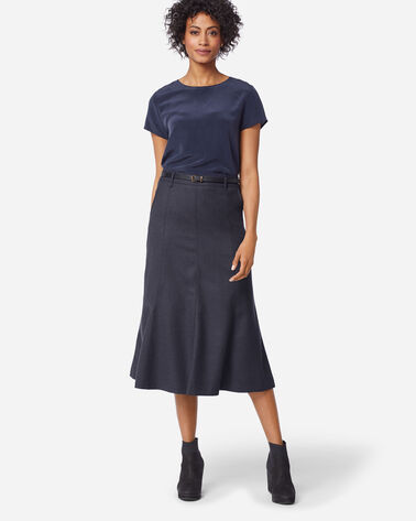 SHELBY AIRLOOM WOOL FLANNEL BOOT SKIRT IN NAVY MIX