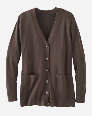 WOMEN'S COLBY V-NECK CARDIGAN IN COFFEE