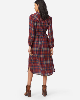 ALTERNATE VIEW OF BUTTON-FRONT PLAID DRESS IN RUST PLAID