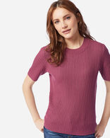 WOMEN'S SHORT-SLEEVE MERINO RIB PULLOVER IN ROSE