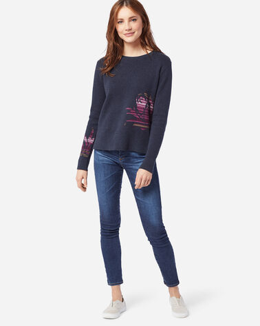 WOMEN'S ROSE CITY PULLOVER SWEATER, NAVY/ROSE, large