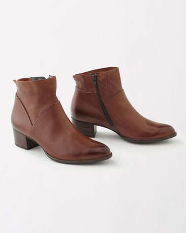 LEATHER NELLY ZIP BOOTIES, NOUGAT, large