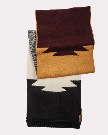 COLOR BLOCK SCARF, BROWN/GOLD/BLACK, large