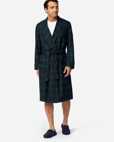 MEN'S WASHABLE WHISPERWOOL ROBE IN BLACK WATCH TARTAN