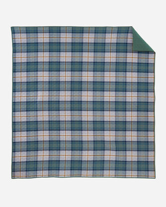 ALTERNATE VIEW OF MOSIER PLAID COVERLET SET IN EVERGREEN