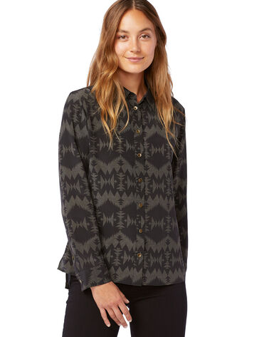 ALTERNATE VIEW OF WOMEN'S LONG-SLEEVE SILK BLOUSE IN BLACK MULTI SONORA