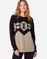 WOMEN'S SONORA MERINO PULLOVER IN TAUPE HEATHER/BLACK