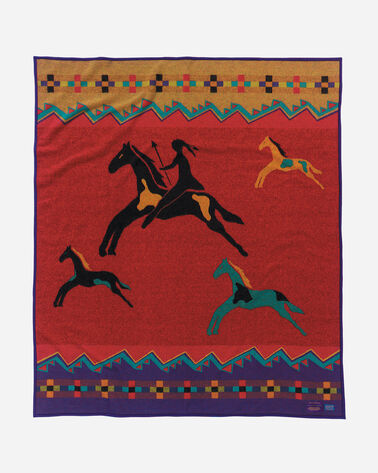 CELEBRATE THE HORSE BLANKET, RED MULTI, large