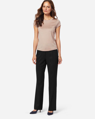 SEASONLESS WOOL STRAIGHT LEG PANTS IN BLACK