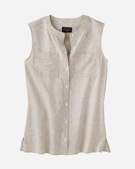 WOMEN'S SLEEVELESS STRIPE LINEN SHIRT, , large