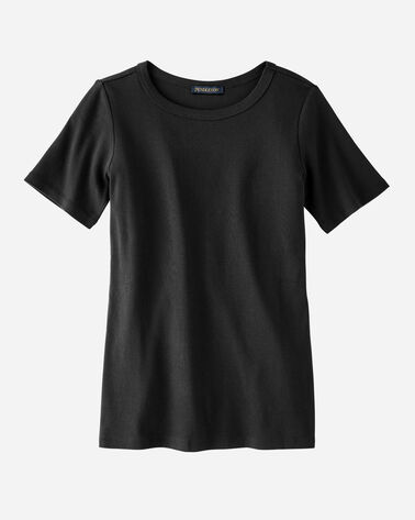 WOMEN'S SHORT-SLEEVE COTTON RIBBED TEE, BLACK, large
