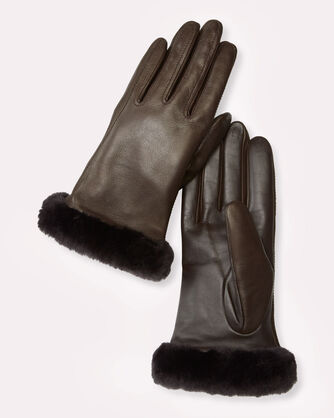 CLASSIC LEATHER SMART GLOVES, BROWN, large