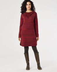 HOODED MERINO WOOL SWEATER DRESS, RED MULTI, large