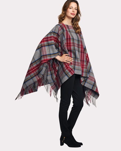 COZY PONCHO, CHARCOAL STEWART PLAID, large