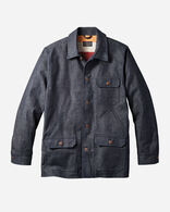 DENIM COAT WITH GLACIER STRIPE LINING IN DARK DENIM