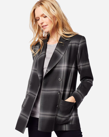 PRESTON DOUBLE-BREASTED WOOL BLAZER IN GHOST PLAID