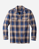MEN'S FITTED COTTON BOARD SHIRT IN NAVY/CAMEL OMBRE