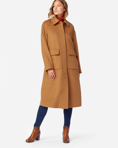 ALTERNATE VIEW OF LONG WOOL COAT IN CAMEL