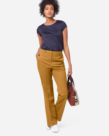 SEASONLESS WOOL LINED STRAIGHT LEG PANTS IN GOLDEN BROWN