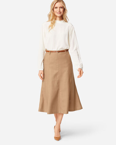 SHELBY AIRLOOM WOOL FLANNEL BOOT SKIRT IN CAMEL MIX