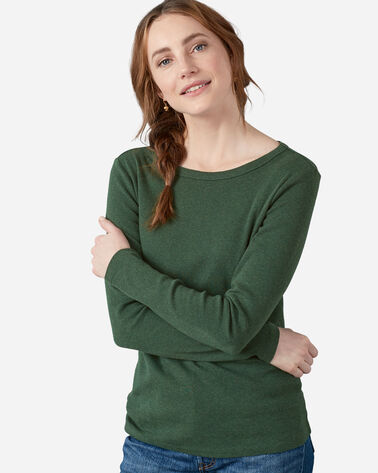 WOMEN'S LONG-SLEEVE COTTON RIBBED TEE in DARK SPRUCE HEATHER