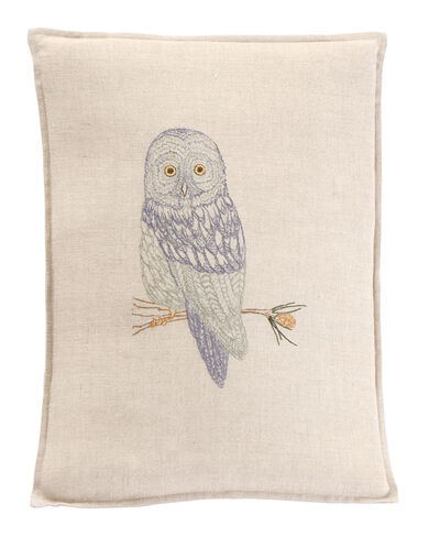 GREAT GREY OWL PILLOW IN NATURAL LINEN