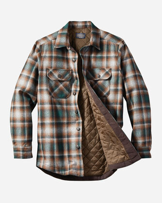 MEN'S QUILTED SHIRT JACKET, GREEN/GREY OMBRE, large