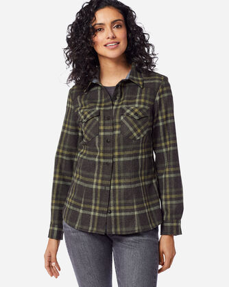 ADDITIONAL VIEW OF WOMEN'S WOOL SHANIKO WESTERN SHIRT IN CHARCOAL/GREEN PLAID