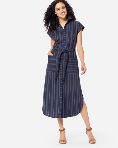 STRIPE WOOL MIDI DRESS