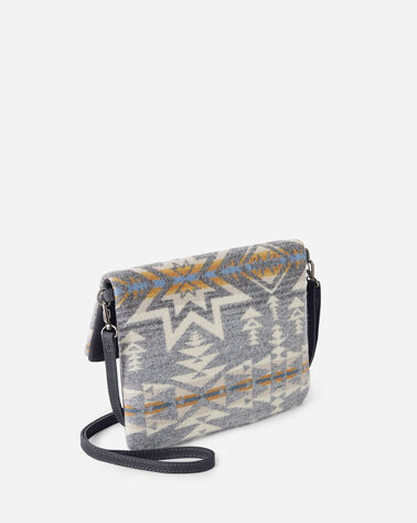 ALTERNATE VIEW OF PLAINS STAR FOLDOVER CLUTCH IN GREY