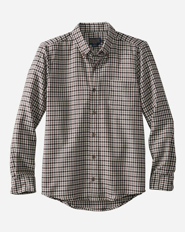 FITTED EVERGREEN WORSTED WOOL SHIRT, BROWN/GREY HERRINGBONE, large