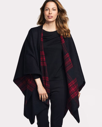 DOUBLE SIDED SHAWL, RED/BLACK PLAID, large