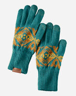 JACQUARD TEXTING GLOVES IN DIAMOND PEAK TURQUOISE