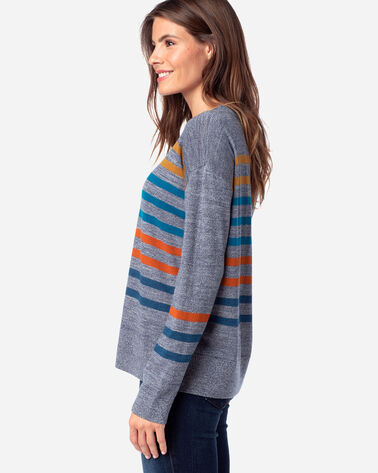 ALTERNATE VIEW OF WOMEN'S TIMELESS MERINO STRIPED CREW IN BLUE MARL MULTI