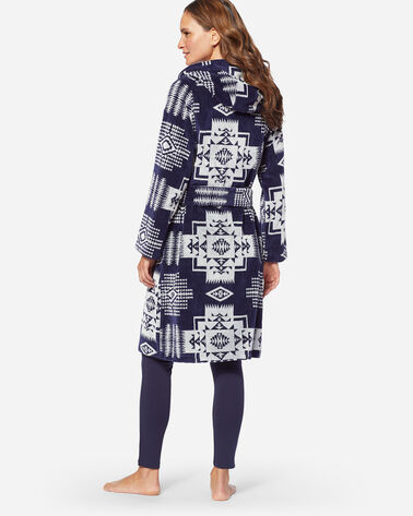 WOMEN'S JACQUARD TERRY ROBE, NAVY/ANTIQUE WHITE, large
