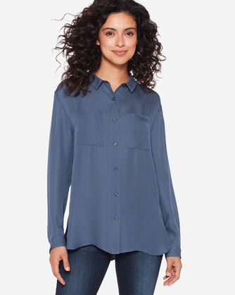 LONG-SLEEVE SILK BUTTON-UP SHIRT