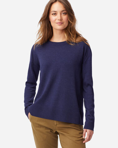 WOMEN'S TIMELESS MERINO CREW SWEATER IN INDIGO HEATHER