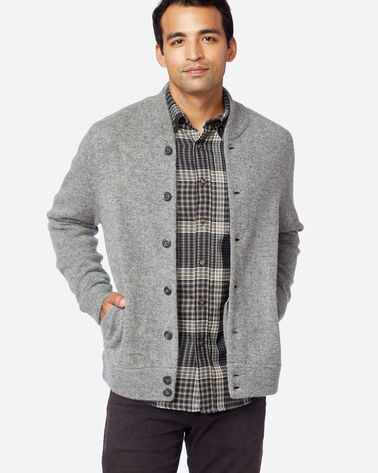 MEN'S SHETLAND WASHABLE WOOL CARDIGAN IN GREY HEATHER