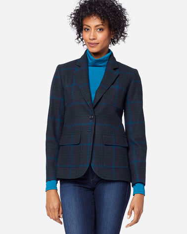 ADDITIONAL VIEW OF WOMEN'S BRYNN WOOL BLAZER IN BLACK/BLUE PLAID
