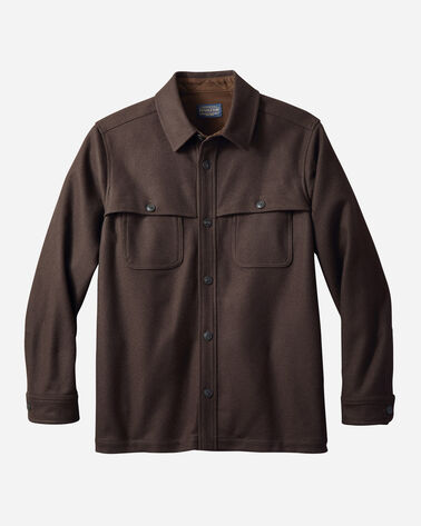 MEN'S ECO-WISE WOOL SHIRT JACKET, BROWN/WALNUT, large