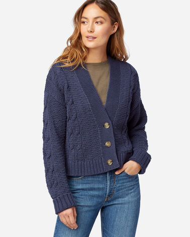 WOMEN'S CROPPED CABLE CARDIGAN IN INDIGO