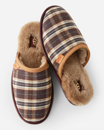 SCUFF PLAID SLIPPERS, CHESTNUT, large