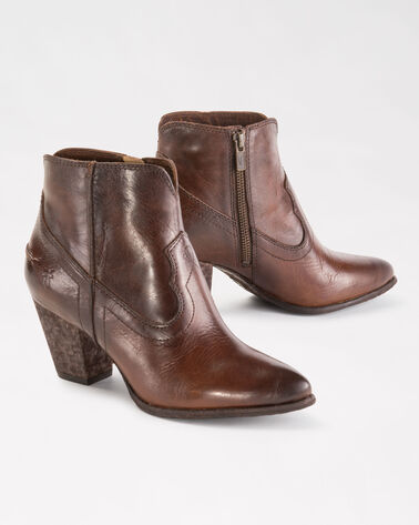 RENEE SEAM ANKLE BOOTIES, DARK BROWN, large