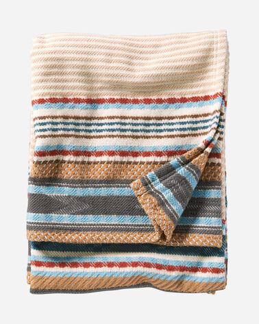 ADDITIONAL VIEW OF ESCALANTE RIDGE COTTON BLANKET IN CAMEL