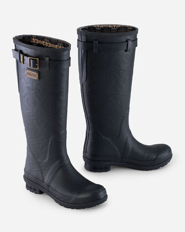 ALTERNATE VIEW OF HERITAGE EMBOSSED TALL RAIN BOOTS IN BLACK