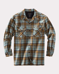 """BIG"" BOARD SHIRT, MINT/BRONZE PLAID, large"
