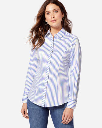 SADIE SATEEN STRIPE SHIRT, PERFECT PERI, large