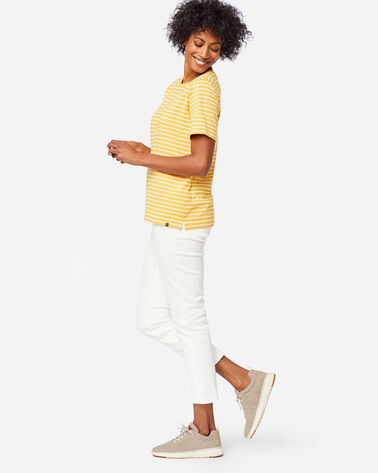 ALTERNATE VIEW OF WOMEN'S DESCHUTES STRIPE TEE IN MARIGOLD/WHITE
