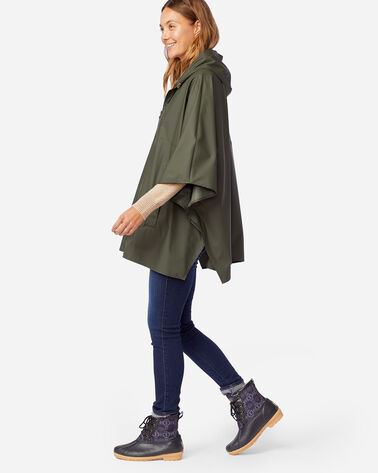 WOMEN'S ZIP FRONT RAIN PONCHO IN OLIVE