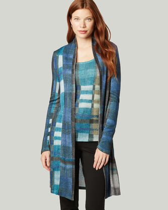 ITALIAN KNIT LONG PLAID CARDIGAN